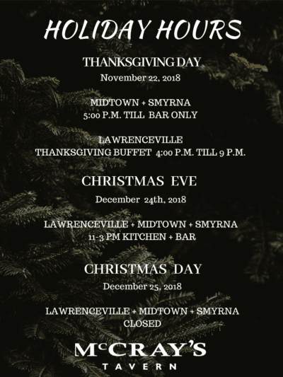 McCray's Tavern Holiday Hours 2018